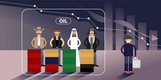 Ejemplo de la carta del precio del petróleo con los personajes stock de ilustración