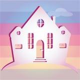 Ejemplo de la casa en fondo del color Puede ser utilizado como hogar del icono Imagenes de archivo