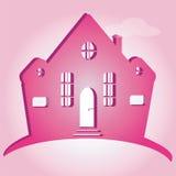 Ejemplo de la casa en fondo rosado Puede ser utilizado como hogar del icono Imágenes de archivo libres de regalías