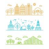Ejemplo de la ciudad del vector en estilo linear Imagenes de archivo
