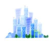 Ejemplo de la ciudad, efecto de la acuarela, fondo de la vida moderna