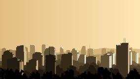 Ejemplo de la ciudad grande en la puesta del sol.