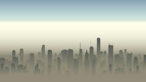 Ejemplo de la ciudad grande en neblina stock de ilustración