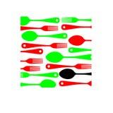 Ejemplo de la cocina del vector del icono de la bifurcación de la cuchara Fotos de archivo