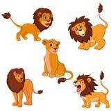 Ejemplo de la colección determinada de la historieta del león libre illustration
