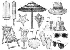Ejemplo de la colección de los accesorios de la playa, dibujo, grabado, tinta, línea arte, vector stock de ilustración