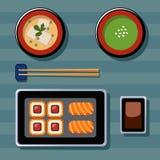 Ejemplo de la comida Comida japonesa Ejemplos planos del vector Fotos de archivo