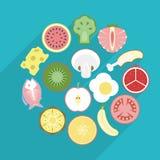 Ejemplo de la comida sana en diseño plano Fotografía de archivo libre de regalías