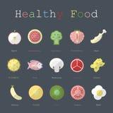 Ejemplo de la comida sana en diseño plano con el texto Fotografía de archivo