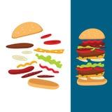 ejemplo de la composición de un cheeseburger Fotos de archivo libres de regalías