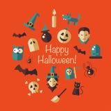 Ejemplo de la composición plana de Halloween del diseño Imágenes de archivo libres de regalías