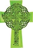 Ejemplo de la cruz céltica del verde del estilo de la acuarela de Artistc Foto de archivo