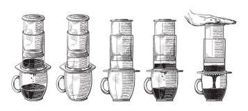 Ejemplo de la elaboración de la cerveza alternativa de aeropress con empujar proceso del esquema de la mano stock de ilustración