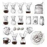 Ejemplo de la elaboración de la cerveza alternativa del chemex con empujar proceso del esquema de la mano ilustración del vector