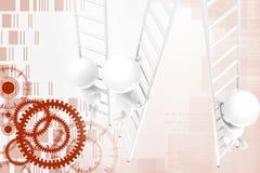ejemplo de la escalera del hombre 3d Foto de archivo libre de regalías