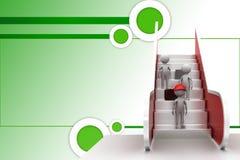 ejemplo de la escalera móvil del hombre 3d Imagenes de archivo
