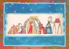 Ejemplo de la escena de Christian Christmas Nativity con los tres hombres sabios Foto de archivo libre de regalías