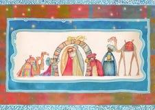 Ejemplo de la escena de Christian Christmas Nativity con los tres hombres sabios Fotografía de archivo