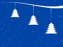 Ejemplo de la escena del invierno con los árboles de navidad y los copos de nieve Imagen de archivo libre de regalías