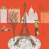 Ejemplo de la escena romántica de París, Francia ilustración del vector