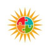 Ejemplo de la esperanza del autismo del rompecabezas de Sun Foto de archivo libre de regalías