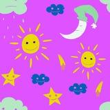 Ejemplo de la estrella, sol, nube, luna Vector Fotos de archivo