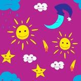 Ejemplo de la estrella, sol, nube, luna Vector2 Imágenes de archivo libres de regalías