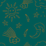 Ejemplo de la estrella, sol, nube, luna Vector3 Imagen de archivo