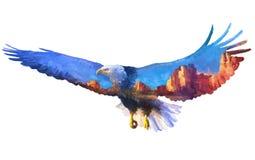 Ejemplo de la exposición doble de Eagle Imagen de archivo