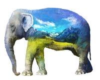 Ejemplo de la exposición doble del elefante Imagen de archivo libre de regalías