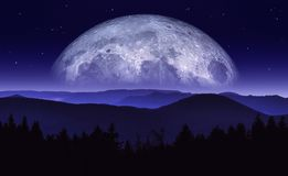 Ejemplo de la fantasía de la luna o del planeta que sube sobre cordillera en la noche Paisaje de la ciencia ficción Ilustraciones libre illustration