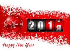 Ejemplo 2018 de la Feliz Año Nuevo con el contador, la bola de la Navidad y los copos de nieve ilustración del vector