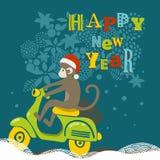 Ejemplo de la Feliz Año Nuevo con el mono lindo encendido stock de ilustración