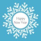 Ejemplo de la Feliz Año Nuevo del marco del copo de nieve stock de ilustración