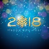 Ejemplo 2018 de la Feliz Año Nuevo del vector en fondo azul de la iluminación brillante con tipografía stock de ilustración