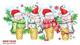 Ejemplo de la Feliz Año Nuevo 2019 Frontera de la Navidad Cerdos lindos con el sombrero de Papá Noel en conos de la galleta Acuar ilustración del vector