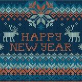 Ejemplo de la Feliz Año Nuevo: Punto inconsútil del estilo escandinavo ilustración del vector