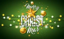 Ejemplo de la Feliz Navidad con la bola de cristal del oro, estrella, encendiendo la guirnalda y elementos de la tipografía en fo stock de ilustración