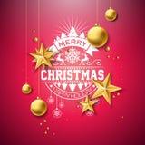 Ejemplo de la Feliz Navidad con la bola de cristal del oro, la estrella y los elementos de la tipografía en fondo rojo Diseño del ilustración del vector