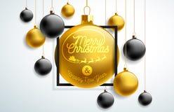 Ejemplo de la Feliz Navidad con oro y elementos negros de la bola de cristal y de la tipografía en el fondo blanco Día de fiesta  libre illustration