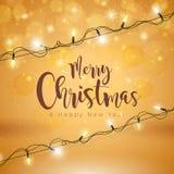 Ejemplo de la Feliz Navidad del vector en el fondo de Brown Foto de archivo