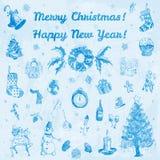 Ejemplo de la Feliz Navidad dibujada mano del garabato y de la Feliz Año Nuevo Imágenes azules, fondo azul claro de la acuarela Foto de archivo libre de regalías