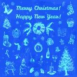 Ejemplo de la Feliz Navidad dibujada mano del garabato y de la Feliz Año Nuevo Imágenes azules, fondo de la acuarela del añil Fotos de archivo libres de regalías