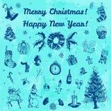 Ejemplo de la Feliz Navidad dibujada mano del garabato y de la Feliz Año Nuevo Imágenes del añil, fondo azul de la acuarela Fotografía de archivo libre de regalías