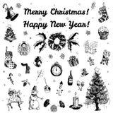 Ejemplo de la Feliz Navidad dibujada mano del garabato y de la Feliz Año Nuevo Imágenes negras, fondo blanco Imagen de archivo