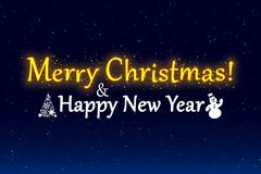 Ejemplo de la Feliz Navidad y de la Feliz Año Nuevo Fotos de archivo libres de regalías