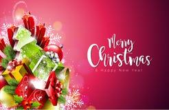 Ejemplo de la Feliz Navidad y de la Feliz Año Nuevo encendido con tipografía en fondo de los copos de nieve Diseño del vector EPS Imagen de archivo