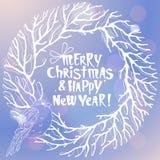 Ejemplo de la Feliz Navidad y del Año Nuevo con la guirnalda blanca Fotografía de archivo