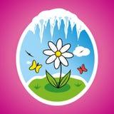 Ejemplo de la flor de la primavera del vector en marco Fotos de archivo libres de regalías