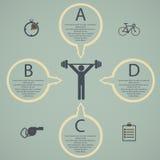 Ejemplo de la forma de vida de la salud infographic en el plano diseñado Imagen de archivo